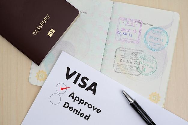 Formulaire de demande de visa pour voyager immigration un document argent pour carte de passeport et plan de voyage