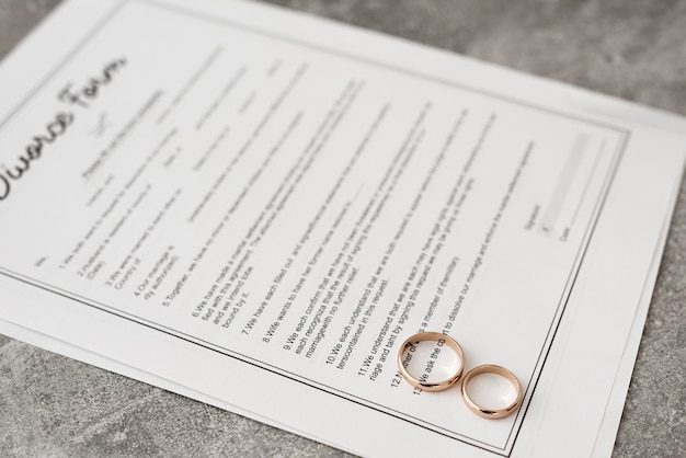 Formulaire de divorce en gros plan avec des anneaux de mariage sur la table