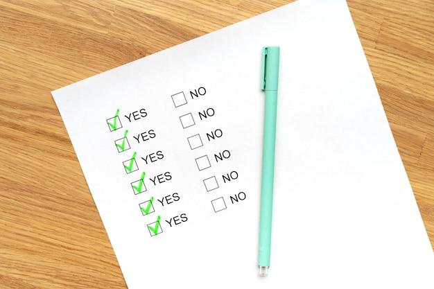 Un formulaire d'enquête avec des options de réponse par oui ou par non