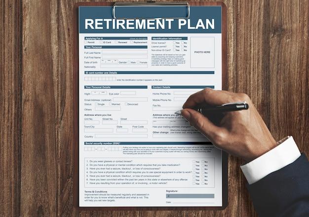Formulaire de plan de retraite concept financier d'assurance