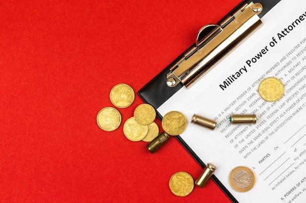 Formulaire de procuration militaire. bureau et presse-papiers avec accord. photo vue de dessus