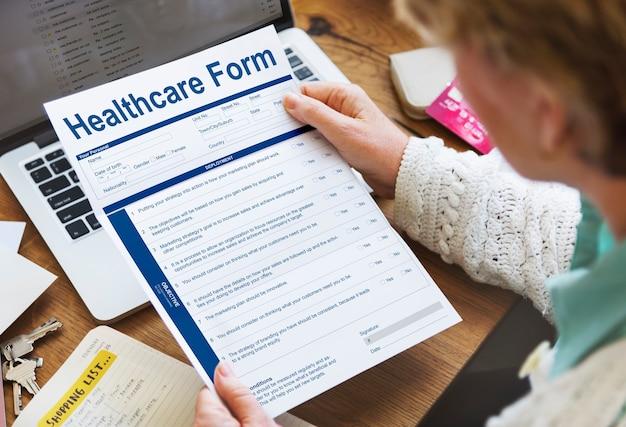 Formulaire de soins de santé concept de demande d'assurance