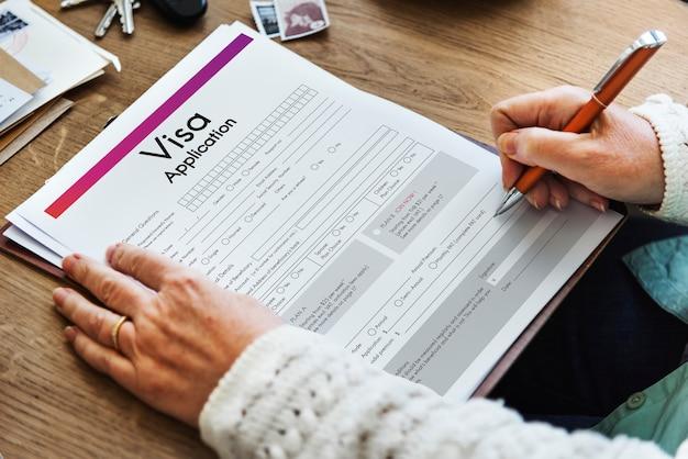 Formulaire de voyage de demande de visa concept