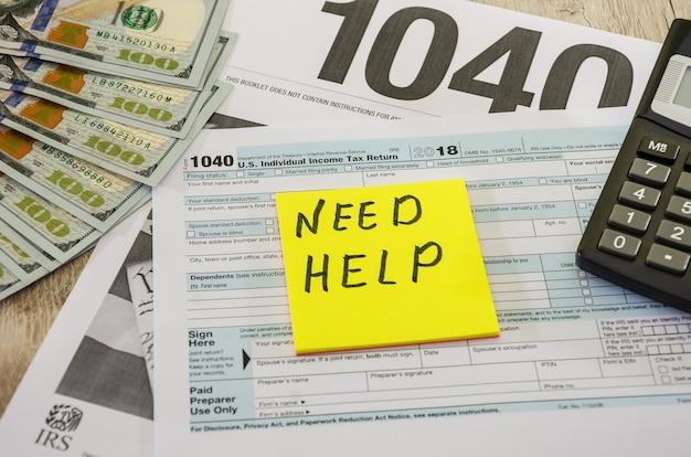 Formulaires fiscaux 1040 dollars et autocollant