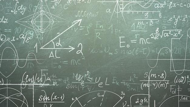 Formule mathématique en gros plan et éléments sur tableau noir, fond d'école. illustration 3d élégante et luxueuse du thème de l'éducation