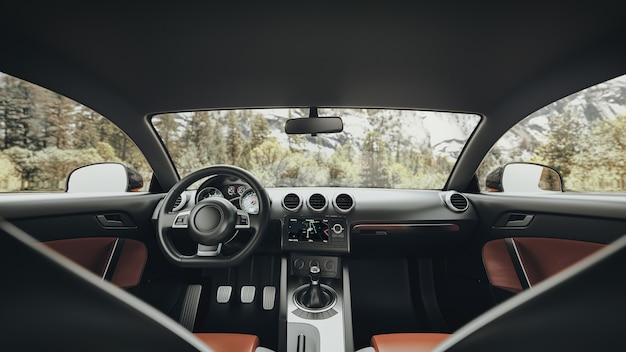 Forrest de l'intérieur d'une voiture moderne