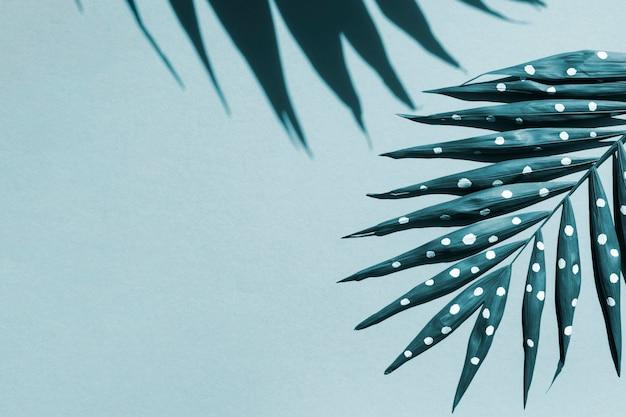 Fougère peinte et son ombre sur le fond de l'espace de copie