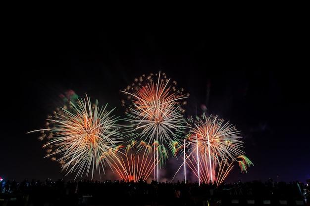 Foule regarde les feux d'artifice de vacances dans le ciel du soir sombre.