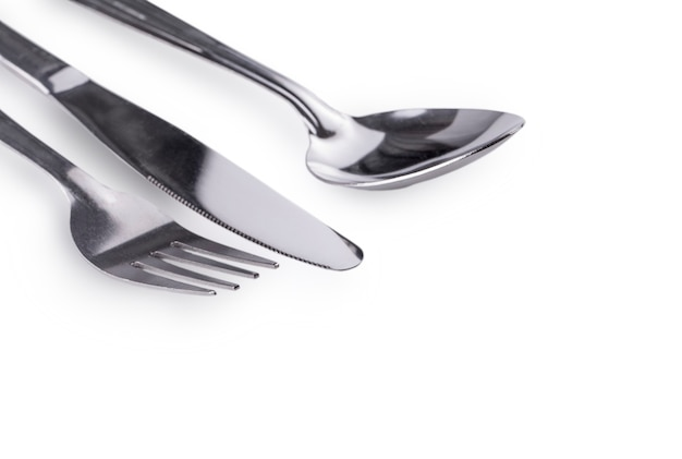 Fourchette, couteau et cuillère close up set isolated