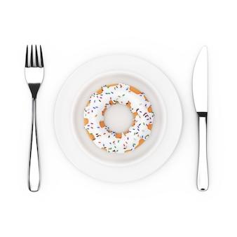 Fourchette et couteau près d'une assiette avec un grand beignet glacé au chocolat blanc avec des paillettes de couleur, vue de dessus sur fond blanc. rendu 3d