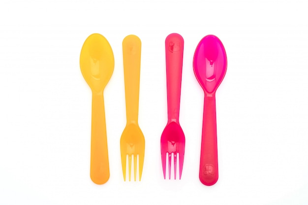 Fourchette et cuillère en plastique coloré
