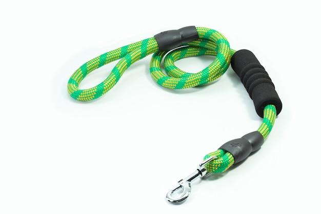 Fournitures pour animaux de compagnie sur la laisse pour animal de compagnie de vert. concept de crochet d'argent.