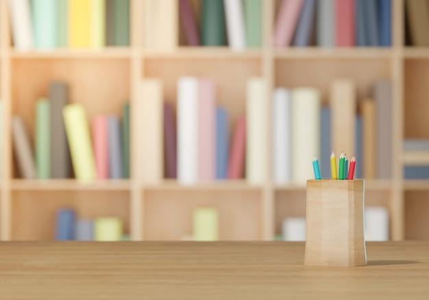 Fournitures scolaires low poly sur table en bois, retour au concept de l'école rendu 3d
