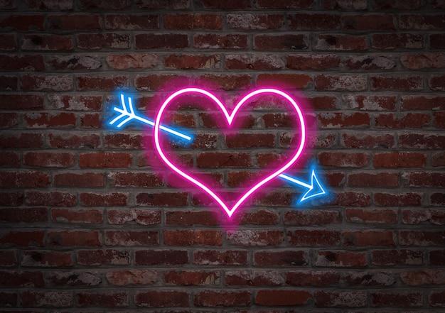 Le foyer percé d'une flèche. forme néon clair sur un mur de briques