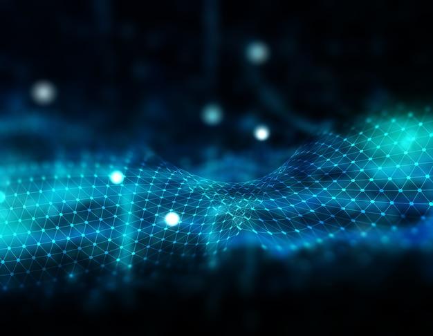 Fractale abstraite 3d avec lignes de connexion et points