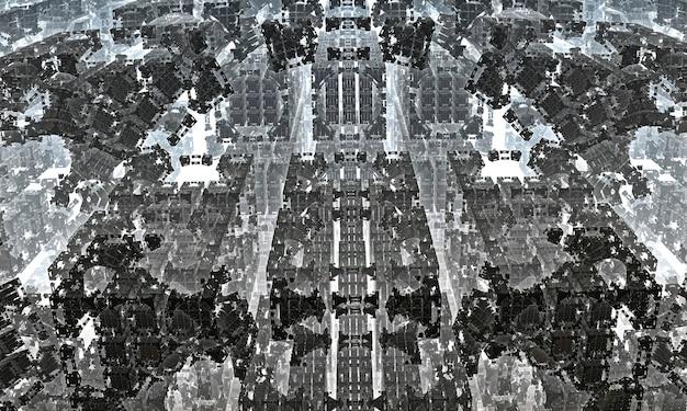 Fractale filée en spirale, structures linéaires tissées, éléments architecturaux géométriques. illustration 3d.