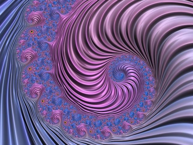 Fractale spirale texturée abstraite de rose et bleu. rendu 3d.