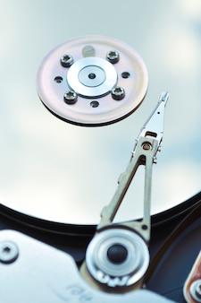 Fragment de disque dur d'ordinateur avec dof peu profond