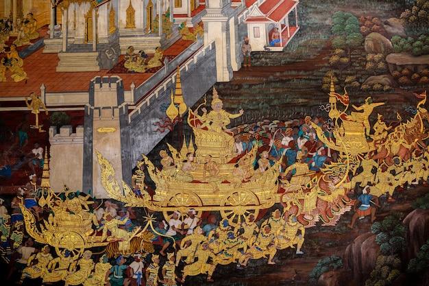 Fragment d'une fresque avec scène du ramakien au wat phra kaew