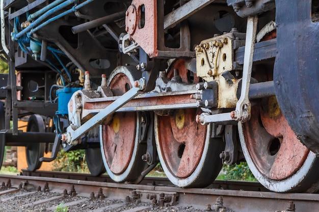 Fragment d'une vieille locomotive rouillée debout sur les voies ferrées