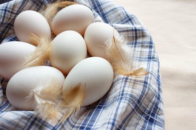 Frais nombreux œufs de canard sur tissu plaid