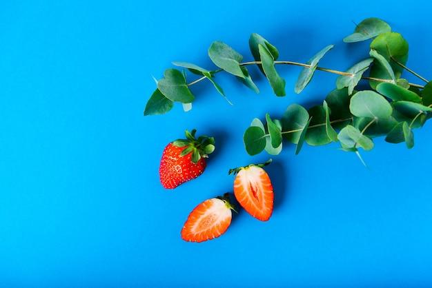 Fraises rouges et feuilles vertes d'eucalyptus