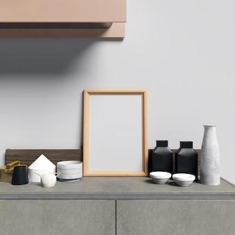 Frame mockup sur les armoires de cuisine avec des décorations