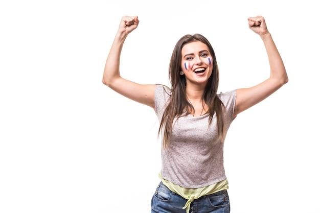 La france gagne. victoire, heureux et objectif crient les émotions de la france fan de football femme dans le jeu de soutien de l'équipe nationale de france sur fond blanc. concept de fans de football.
