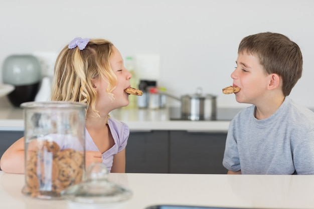 Frères et soeurs avec des biscuits dans la bouche au comptoir de la cuisine
