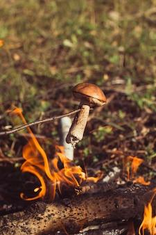 Frire des champignons sur le bûcher lors d'une randonnée dans les bois