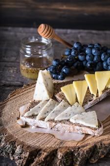 Fromage aux raisins, pain, miel. fromage de chèvre. apéritif italien. bruschetta. concept de petit déjeuner.