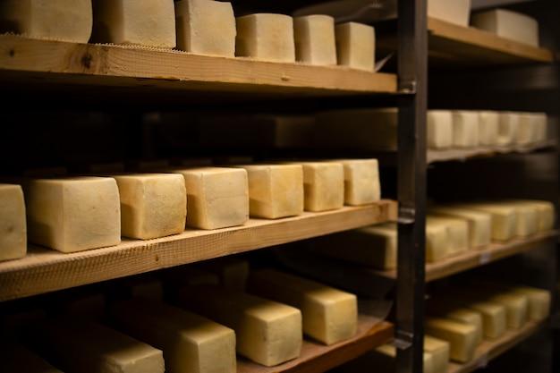 Fromage fait de lait de vache ou de chèvre stocké sur des étagères en bois et laissé à mûrir