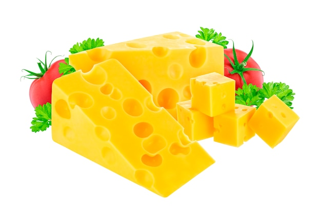 Fromage isolé sur blanc