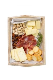 Fromage avec viande, fruits et biscuits