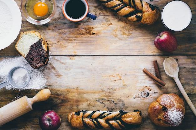 Frontière de pâtisserie et de boissons