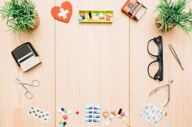 Frontière de plantes et de fournitures médicales