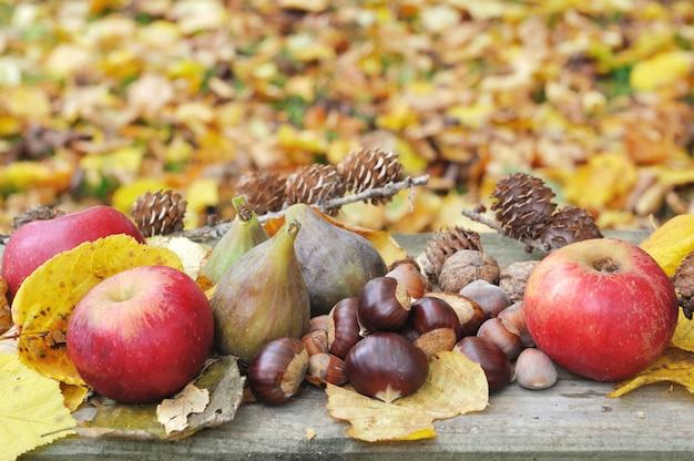 Fruit d'automne en feuilles