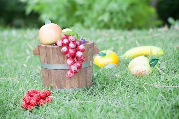 Fruit dans un panier en bois à l'arrière-cour