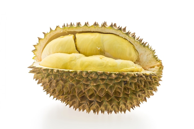 Fruit durian sur fond blanc
