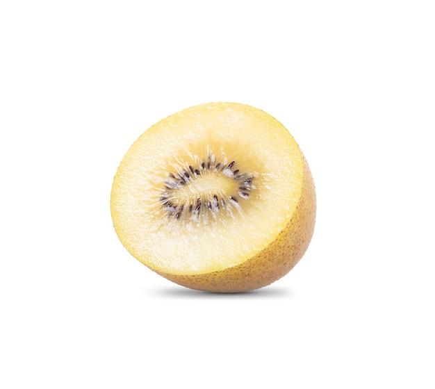Fruit de kiwi or sur un espace blanc.