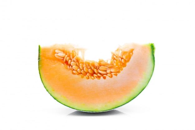 Fruit de melon sur fond blanc