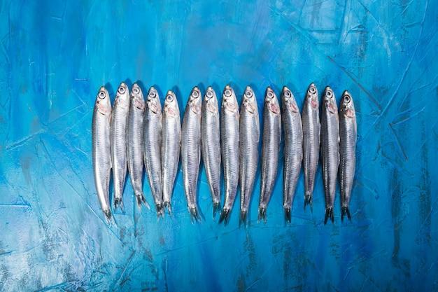 Fruit de mer. petits poissons de mer, anchois, sardines
