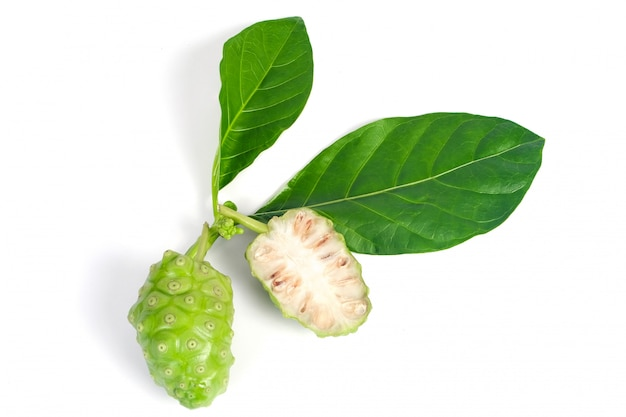Fruit de noni ou morinda citrifolia isolé sur blanc