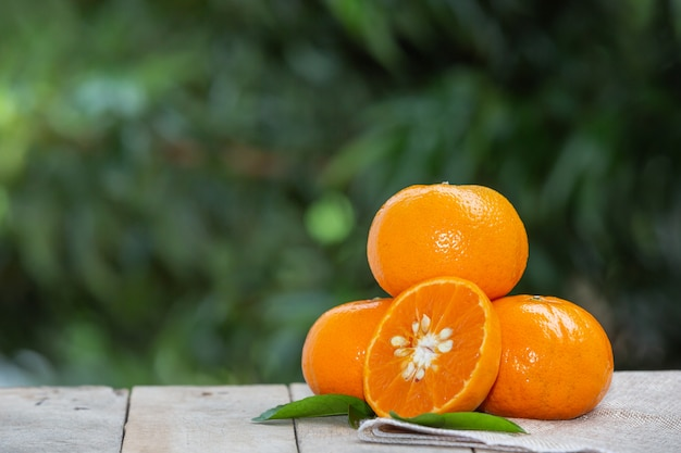Fruit d'oranges avec des feuilles