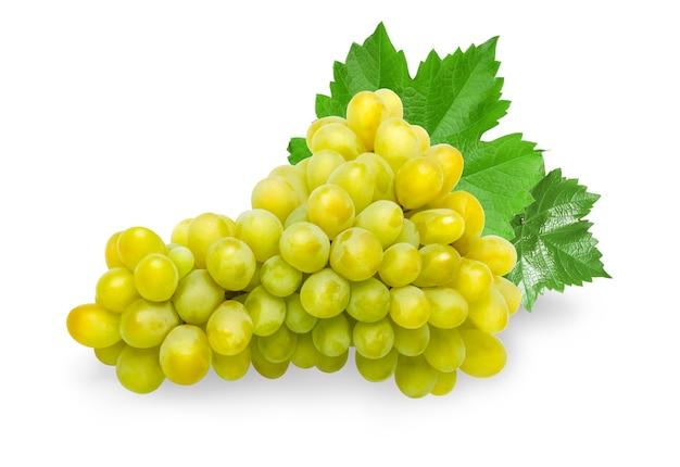 Fruit de raisin vert isolé sur fond blanc
