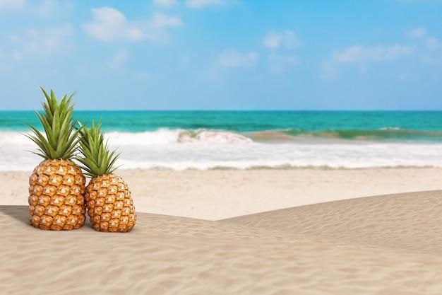 Fruits d'ananas frais et mûrs de nutrition saine tropicale sur l'océan ou la plage de sable de mer gros plan extrême. rendu 3d