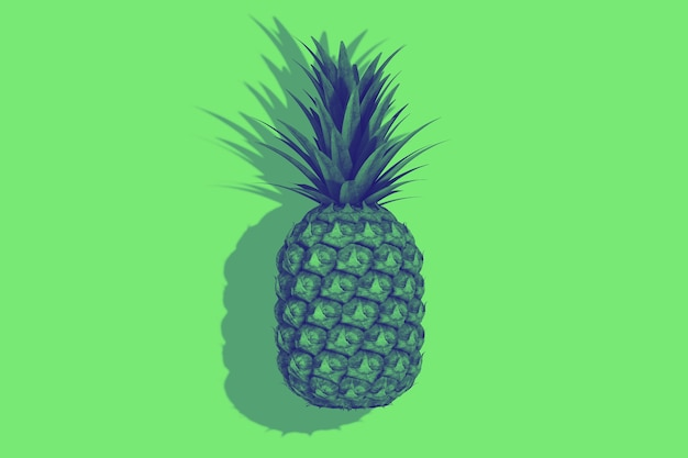 Fruits d'ananas frais et mûrs pour une nutrition saine tropicale sur fond vert. rendu 3d