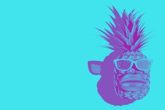 Fruits d'ananas frais et mûrs pour une nutrition saine tropicale avec de grandes lèvres et des lunettes de soleil en style bicolore sur fond bleu. rendu 3d