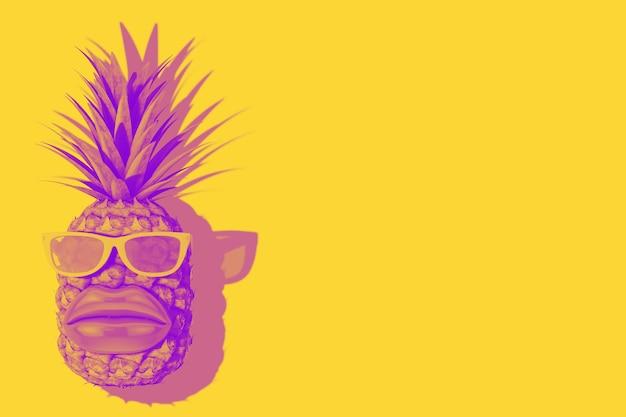 Fruits d'ananas frais et mûrs pour une nutrition saine tropicale avec de grandes lèvres et des lunettes de soleil en style bicolore sur fond jaune. rendu 3d