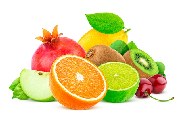 Fruits isolés sur fond blanc